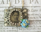 Reserved For Julie-Do Not Purchase-Assemblage Tintype Necklace-Shoe Buckle Rhinestones