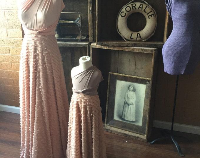 Dusty Peach Ruffle Octopus Infinity Wrap Gown- Nautilus Peach with Peach Chiffon Ruffles ~Vintage Wedding, Bridesmaids Dress