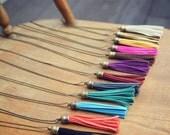 Boho Long Antique Brass Tassel Fringe Charm Necklaces Faux Suede - 12 Colors