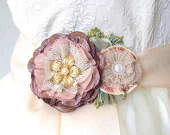 Bridal Sash, Wedding Dress Sash, Floral Bridal Belt, Fabric Flower Sash Pin, Bridal Brooch, Pink Sash, Plum Sash, Wedding Belts and Sashes
