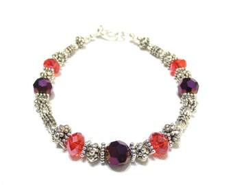 Orange and Purple Bracelet, Deluxe Silver Beading, Handmade Clemson Colors Beaded Bracelet, Graduation Gift, Crystal Cut Glass Beads, SRAJD