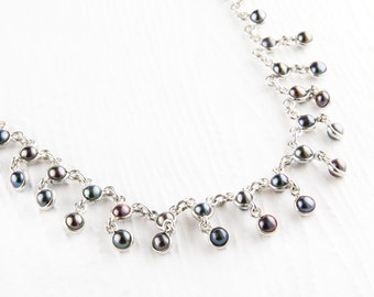 Delicate Grey Pearl and Sterling Silver Necklace