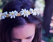 Love is Seashells 70's Flower Child Bohemian Princess SEASHELL FLOWERS Headband CROWN