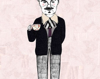 August Strindberg Portrait Illustration