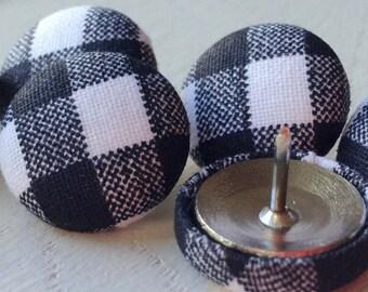 Black and White,6 Pushpins,Push Pins,Thumbtacks,Thumb Tacks,Home Office,Decorative Push Pins, Black and White Gingham,Gift,Bulletin Board