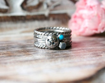 Sleeping Beauty Turquoise, Moonstone, Moon, Full Moon, Sterling Silver, Stacking Rings... La Luna... Size 7.5...