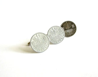 Austria coin cufflinks and tie tack set . world coin jewelry . Austrian coin cuff links . mens accessories