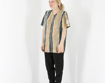 ON SALE Short Sleeve Abstract Blouse / Retro Pastel Blouse / Silky Light Blouse