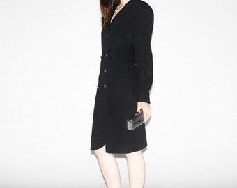 Vintage Karl Lagerfeld Dress - 80s Designer Dress - 1980s Black Dress  - WD0200