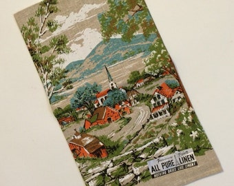Vintage Linen Tea Towel Countryside, Village, Church Parisian Prints