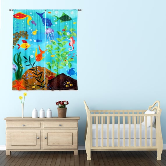 Window curtain happy fish tropical fish decor under sea by for Fish curtains for windows