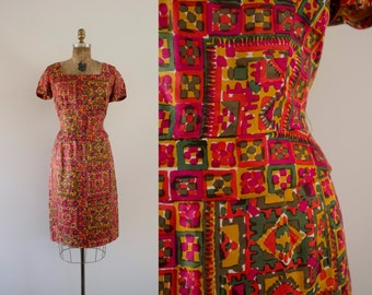 1960s Belle Mare colorful spring wiggle dress / 60s Dorothy Hubbs