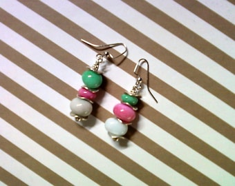 Mint Green, Pink and White Earrings (2036)