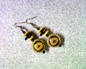 Black and Yellow Earrings (2059)