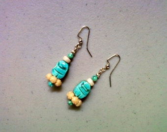 Aqua and Cream Scarab Earrings (1162)