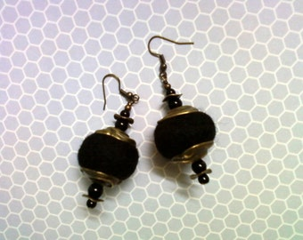 Black Felt Earrings (1575)