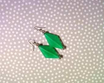 Chunky Seafoam Green Rhombus Earrings (2142)