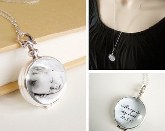 Custom Photo Locket Necklace personalized picture message vintage style glass sterling silver double sided amulet - Mothers Day or Memorial