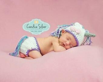 Baby Unicorn Photo Prop/ Unicorn/ Crochet Newborn Photo Prop Unicorn