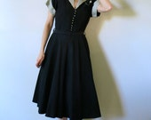 Vintage 1950s Dress / I Love Lucy / Black and White Dress