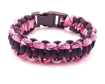 Paracord Survival Bracelet | Black & Pink Camouflage | Tactical Bracelet