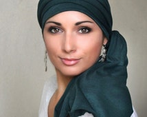 Turban Head Wrap Alopecia Chemo Head Scarf Forest Green Jersey, Hat & Scarf Set 78-09