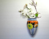 Antique 1910 Lusterware Floral Design in Blue,Orange, Yellow Wall Pocket