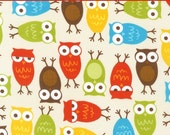 "LAMINATED Cotton  - Owls Anne Kelle Urban Zoologie - Robert Kaufman, 56"" Wide, BPA & PVC Free"
