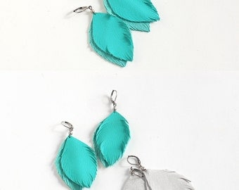 Leather Turquoise blue earrings and suede leather earrings in light grey. Set of two