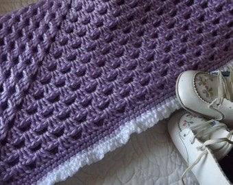 Crocheted Baby Blanket in a Soft Shade of Lavender Purple with a White Fancy Edge