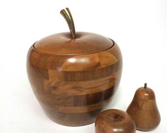 Vtg MCM Apple WALNUT Ice Bucket Barware & Walnut Salt and Pepper Shaker Set Pear Apple Kitsch Kitchen Mad Men Barware
