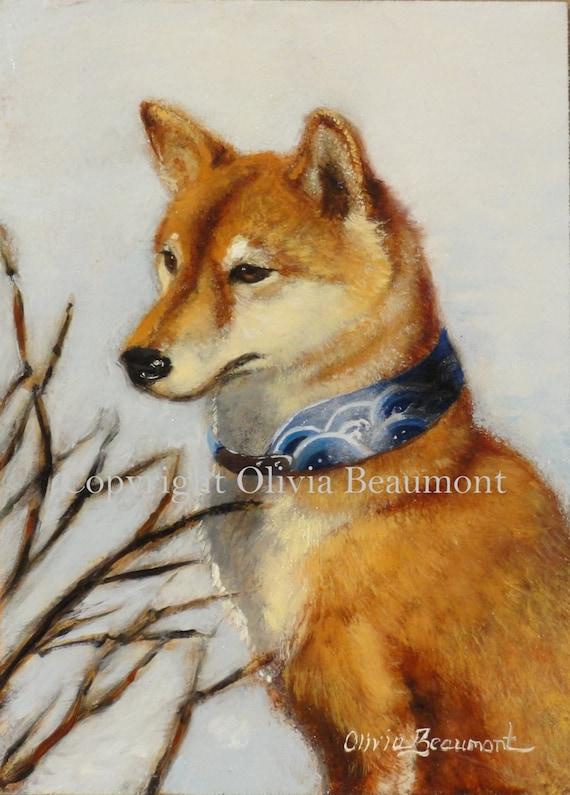 Shiba Inu Art - Original oil painting by Olivia Beaumont