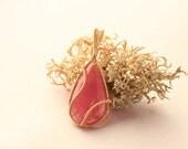 Gemmy Rhodochrosite in Gold, Wire-Wrapped Pendant - Men's Necklace Men's Jewelry