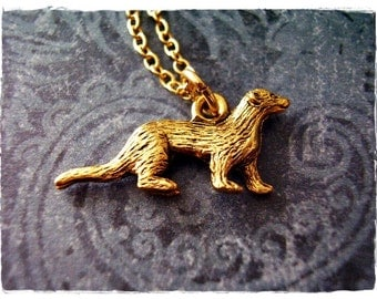 Gold Ferret Necklace - Antique Gold Pewter Ferret Charm on a Delicate Gold Plated Cable Chain or Charm Only