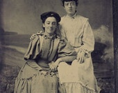 Two SISTERS In Victorian DRESS and HATS In Front of a Seaside Backdrop Tintype Photo Circa 1880s