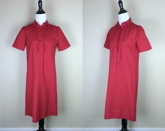 70s Red Ruffle Dress / 1970s Shirt Dress / Day Dress Button Up / Short Sleeve Cherry Red / Schrader Sport S