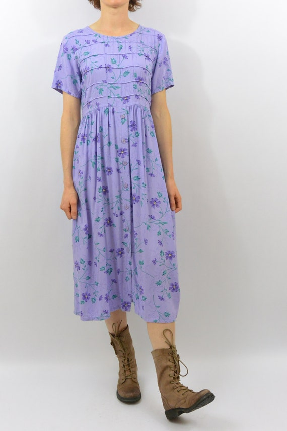 vintage floral midi dress xs small clothing soft grunge