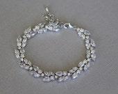 Cubic zirconia bracelet, bridal bracelet, wedding bracelet, bridal jewelry, wedding jewelry, oval shaped bracelet