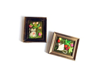 Pair of Vintage Crewel Embroideries / Mice and Berries