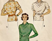 1930s Vintage Blouse Pattern McCALL 8155  Bust 32  Missing Pieces  Circa 1935