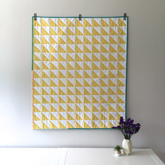 Modern Quilt Yellow And White Triangle Quilt Half Square
