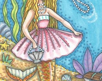 MERMAID Girl In Pink Pearls Siren Fantasy Art ACEO Susan Brack Ebsq