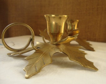 2 VINTAGE BRASS Leaf Candle Holders Made In India Two Taper Candle Holders 1 Inch Taper Candle Holders Cast 10 Leaf Brass Candle Holders