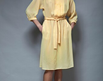 SALE sheer belted dress secretary vintage 70s butter yellow half sleeve pocket pleated LARGE L