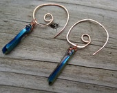 Purple-blue mystic quartz crystal point earrings on hammered copper spiral