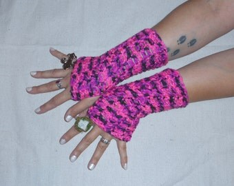 Hand Cocheted Boho Fingerless Gloves Arm Warmers Pink Panther Gloves. Crochet Pink and Black Spring fashion Accessory Girly Girl Hot pink