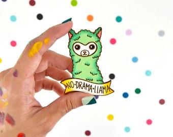 hand painted laser wood cut brooch / no drama llama / mint kawaii cute llama pin flair