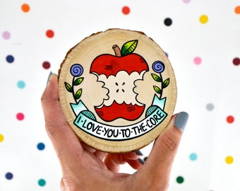 i love you to the core / mini apple painting on wood slice / couple wedding anniversary