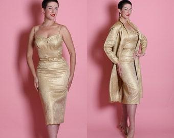 RARE Designer 1950's Metallic Gold Lurex Silk Brocade Extreme Hourglass Cocktail Dress w/ Matching Belt & Dress Coat by ESTEVEZ for GRENELLE