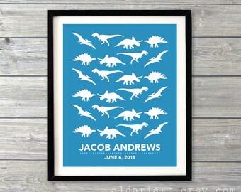 Dinosaurs Nursery Art Print - Blue and White - Dinosaur Nursery Poster - Baby Boy Bedroom Decor - Baby Name and Date Art Print - Aldari Art